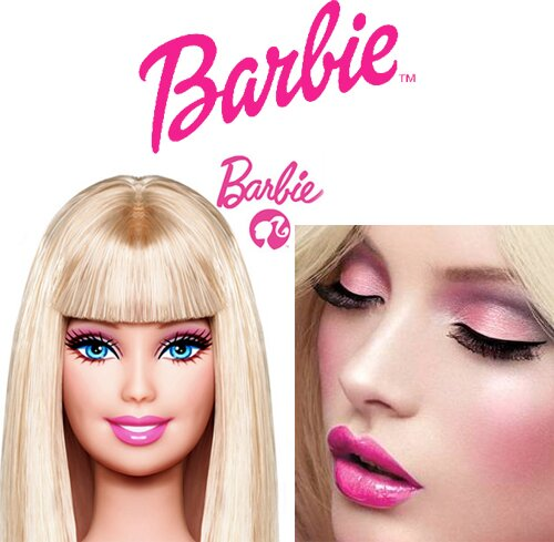 Игры делать макияж на лице барби.